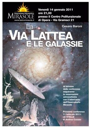 Conferenza La Via Lattea e le Galassie - AstroMirasole, Opera - Milano