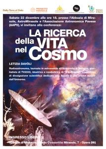 Conferenza astrofisica Milano esobiologia Mirasole Letizia Davòli