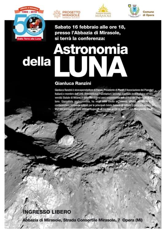 Astronomia della Luna conferenze scienza astrofisica Milano