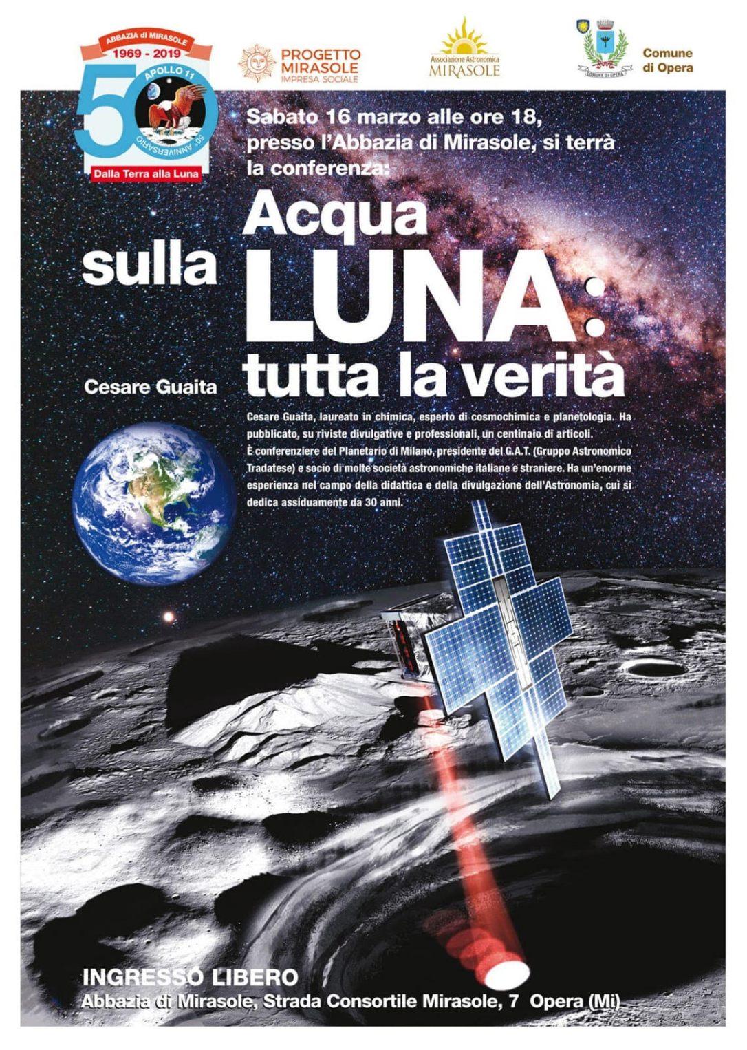 Acqua sulla Luna Conferenza Astronomia Milano Mirasole Guaita