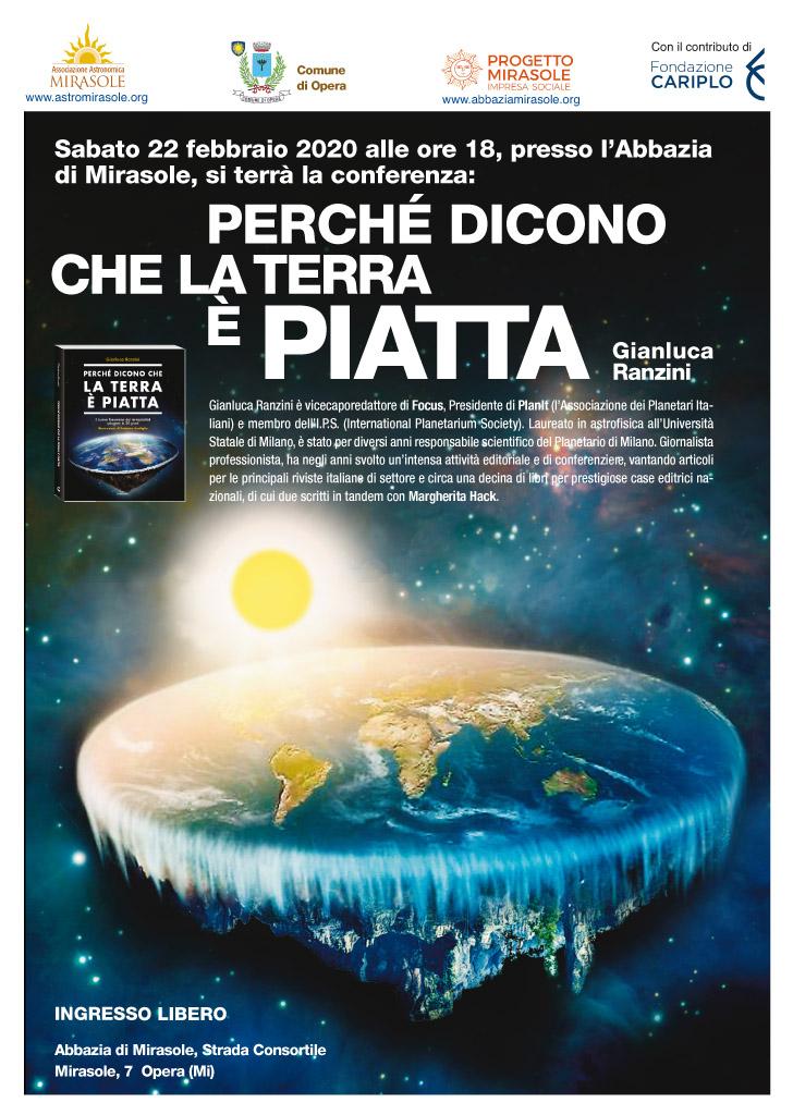 Conferenza terrapiattismo AstroMirasole Milano astronomia scienza
